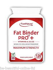 120 Fat Binder Pro High Strength Vegetarian Diet Slimming Pills+Vitamins A,D & E