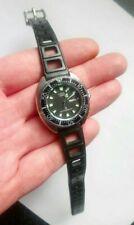 Rare Vintage Citizen Ladies Diver WR 150 Black Dial Day Date Quartz Watch