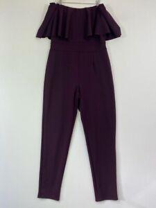 BNWOT BOOHOO burugndy wine bardot off shoulder ruffle tapered jumpsuit size 14