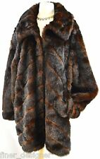 Terry Lewis Classic Luxuries Faux Fur Mink Jacket Car Coat 2 tone Women's 3X VTG