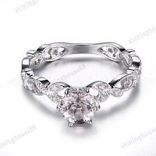 10K White Gold 6mm Round Morganite Diamond Engagement Milgrain Vintage Fine Ring