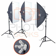 Studio Lighting Softbox Kit - 2250w 3 Head - Continuous Set Photography Video