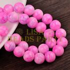 Hot 30pcs 10mm Round Charms Glass Loose Spacer Beads Deep Pink Colorized