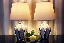 2 Lampen weiß silber Keramik Tischlampe Tischleuchte Leuchte Nachttischlampe
