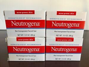 Neutrogena Transparent Facial Bar 3.5 oz, Acne-Prone Skin Formula 4 pack