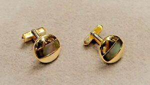 Beautiful Vintage 30s Swank Round Goldtone Cufflinks w/Inlaid Abalone Shell Bar