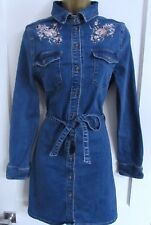 NEW LOOK LADIES BLUE DENIM EMBROIDERED STRETCH BELTED SHIRT DRESS SIZE 12 WOMENS