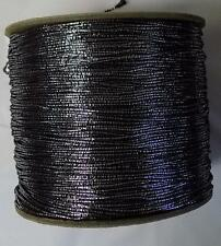 Vintage Gimp Natl Braid Large Spool Trim Yarn Thick Black Core Silver Wrap G59C