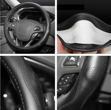 1x Black Real Leather Diameter 38cm Vehicle Car Steering Wheel Cover Accessory