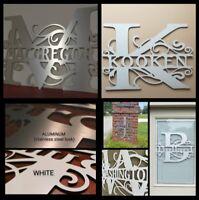 Weatherproof ACM Monogram House Sign, Monogrammed Wreath, Door Hanger, Letter
