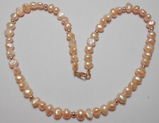 """Peach Freshwater Pearls, Rose-Gold Hematite, 18.5"""" necklace"""