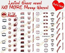 Baseball MOM Nail Art Decals. Clear Vinyl PEEL and STICK Nail Decals