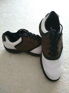 Men's Foot Joy Contour Fit  Soft Spike Golf Shoes White Brown Size 10W