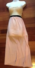 Strapless Crochet Corset Maxi Dress Cream & Pink Juniors Size S