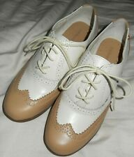 G H Bass Ivy Biscott White Leather Tan White Leather Golf Shoes Women's 6
