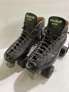 Vintage Riedell USA Black Leather Men's Roller Skates Size 10