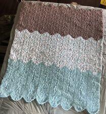 Crochet Afghan Blanket, New, Seafoam/Multi/Taupe Bernat Blanket Yarn