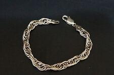 """Heavy Milor Sterling Silver Chain Link Bracelet Italian 925 Charm 7 1/2"""""""