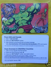 1998 phone cards 100 units hulk incredible hulk schede telefoniche telefonkarten