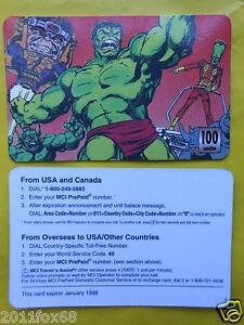 1998 phone cards 100 units hulk incredible hulk schede telefoniche telefonkarten