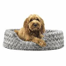 Furhaven Pet Dog Bed - Round Oval Cuddler Ultra Plush Faux Fur Nest Lounger P...