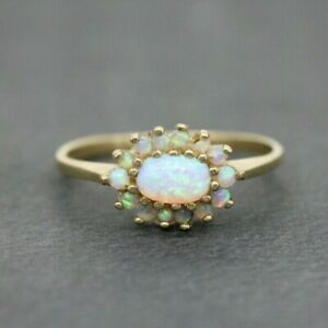 9ct Yellow Gold 0.50ct Opal Cluster Ring Size O, US 7