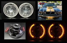 """H6012 H6015 H6024 7"""" Amber LED Halo Clear Headlights"""