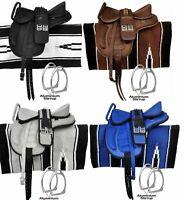 All Purpose Freemax Synthetic Treeless English Horse Tack Handle Saddle + Girth