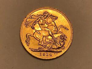 Superb 1914 George V Gold Sovereign Full London Mint
