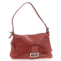 FENDI Leather Mamma Baguette Shoulder Bag Red Auth 7680