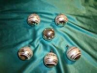 ~ 6 alte Christbaumkugeln Glas silber Eislack Weihnachtskugeln Christbaumschmuck