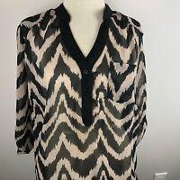 ALYX Woman 3/4 Sleeve Top Blouse Plus Size 1X Black Tan