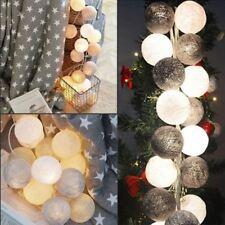 Cotton Ball Lights 20 er Lichterkette Grau Weiß Bälle Kugel LED Hochzeit Party