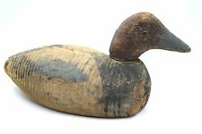 Antique duck decoy with glass eyes and swivel head