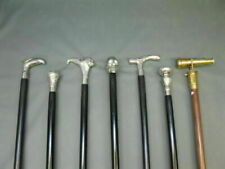 Lot of 7 Pc Wood walking stick Brass Handle silver black Cane compilation Sticks