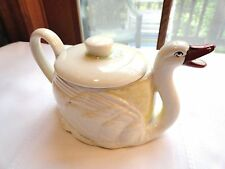 VINTAGE WHITE SWAN COVERED PITCHER~SYRUP OR HOT WATER FOR TEA~CZECHOSLOVAKIA