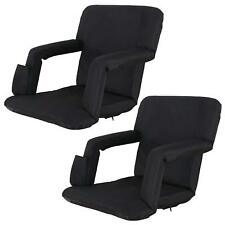 Set of Two Stadium Seat Portable Bleachers Cushion With Shoulder Straps - Black