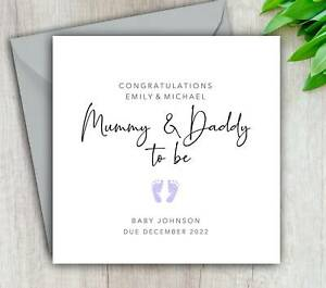 Mummy & Daddy To Be Card, New Parents, Pregnancy Congratulations, Personalised