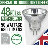 48x  MR16 GU5.3 50W HALOGEN DIMMABLE LIGHT BULB LAMP 12V  - New Pack of 48