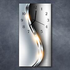 Glasuhr Wanduhr Küchenuhr Echt-Glas 30x60 Deko Curven Silber