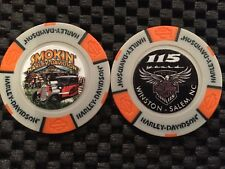 "Harley Golf Marker Poker Chip Gray/Orange ""Smokin"" Winston-Salem 115 Anniversary"