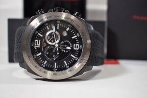 Swiss Legend Men's Sprinter Chrono Watch Textured Black Silicone Swiss Quartz
