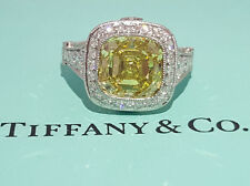 Tiffany & Co 5.15 ct Platinum Legacy Cushion Fancy Intense Yellow Diamond Ring