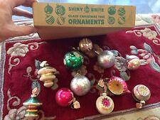 Vintage SHINY BRITE Mercury Glass XMAS Ornaments half box