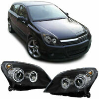 VAUXHALL ASTRA H HALOGEN H7 BLACK ANGEL EYE HEADLIGHTS HEADLAMPS 2004-2010