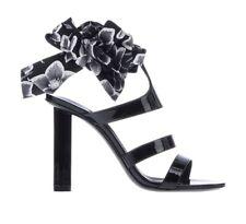 New Salvatore Ferragamo Womens Shoes Black Sandals Trevi Flower Heels Size 9 39