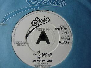 "THE SINCEROS...MEMORY LANE...EPIC PROMO COPY...NEW WAVE 7"" RECORD 45RPM SINGLE"