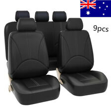 9pcs/Set PU Leather Car Seat Cover Full Set Front+Rear Cushion Mat Protector AU
