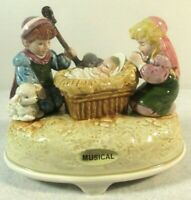 "Vtg Otagiri Nativity Music Box Baby Jesus Plays ""Silent Night"" Christmas Japan"