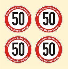 4x Verkehrsschild 50 Geburtstag Aufkleber Verkehrszeichen Straßenschild Birthday